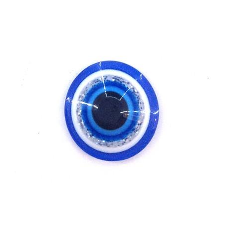 Perlina Schiacciata in Resina 12mm con Occhio Portafortuna