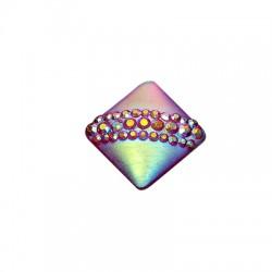 Ρητίνη Καμπουσόν Τετράγωνο με Στρας 14mm