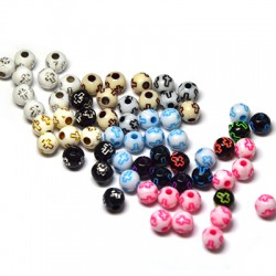 Acrylic Bead 6mm w/ Cross