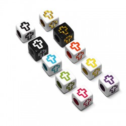 Acrylic Bead Cube 6mm w/ Cross