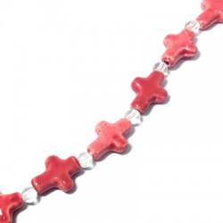 Πορσελάνινος Σταυρός 15x20mm (10 τμχ/κορδόνι)