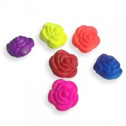 Passante Rosa in Acrilico Gommato 12x9mm