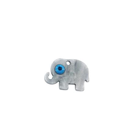 Charm in Plexiacrilico Elefante con Occhio Portafortuna Smaltato 21x15mm