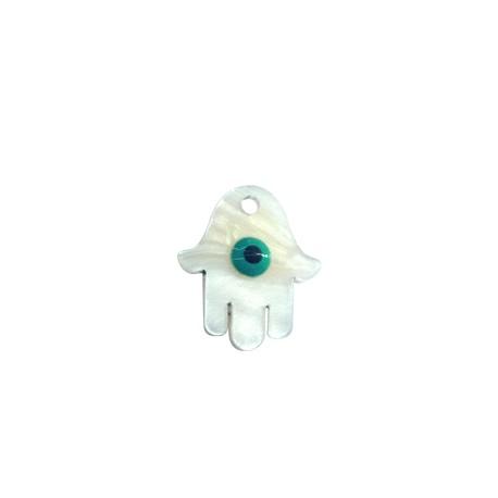 Plexi Acrylic Charm Hamsa Hand 19x17mm with Eye