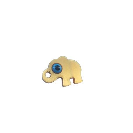 Charm in Plexiacrilico Elefantino con Occhio Portafortuna Smaltato 15x12mm
