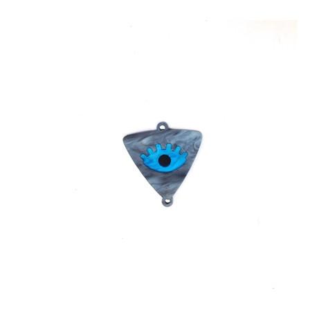Connettore in Plexiacrilico Triangolo 13x16mm con Occhio Portafortuna Smaltato