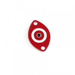 Intercalaire ovale en Plexiacrylique avec œil porte-bonheur émaillé 19x13mm