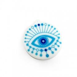 Pendentif rond en Plexiacrylique avec œil porte-bonheur peint 50mm
