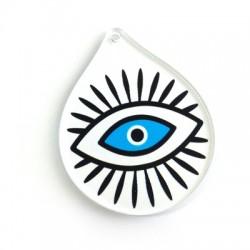 Pendentif goutte en Plexiacrylique avec œil porte-bonheur peint 59x48mm