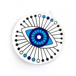 Ciondolo in Plexiacrilico Rotondo con Occhio Portafortuna Dipinto 55mm