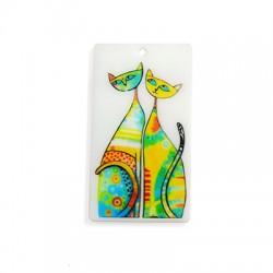 Ciondolo in Plexiacrilico Rettangolo con Disegno di Gatti Dipinto 70x39mm