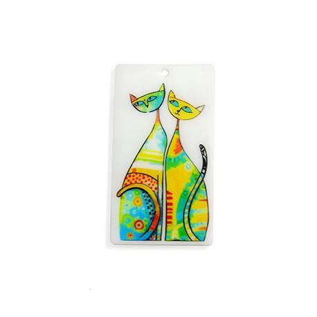 Plexi Acrylic Pendant Cats 70x39mm