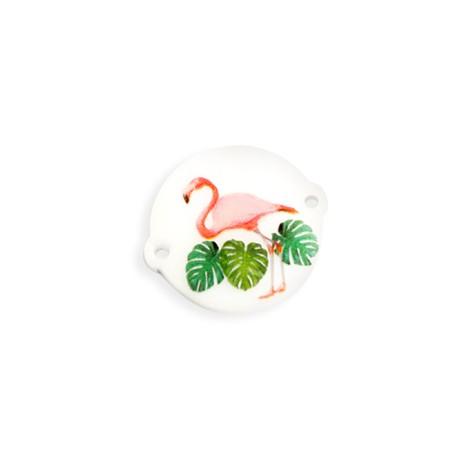 Plexi Acrylic Connector Floral Flamingo 22mm