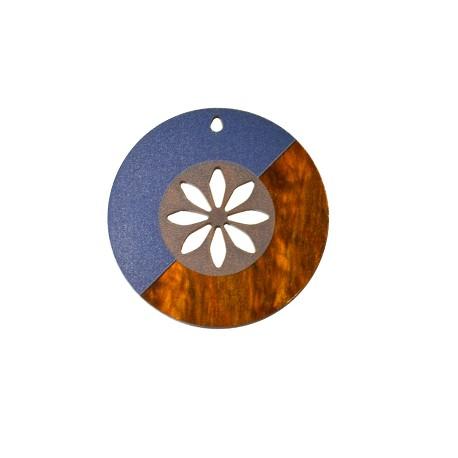 Ciondolo in Plexiacrilico Rotondo con Fiore 60mm