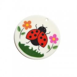 Plexi Acrylic Pendant Round Ladybug 50mm