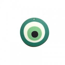 Ciondolo in Plexiacrilico Rotondo Irregolare con Occhio Portafortuna dipinto 45mm