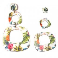 Plexi Acrylic Earring Flowers Set 76x45mm (3pcs)