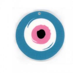 Ciondolo in Plexiacrilico Rotondo Irregolare con Occhio Portafortuna dipinto 50mm