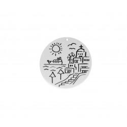Ciondolo in Plexiacrilico Rotondo con Tema Isola Greca Dipinto 50mm