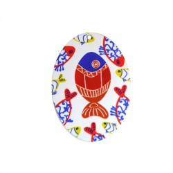 Ciondolo in Plexiacrilico Ovale con Pesci Dipinti 40x55mm