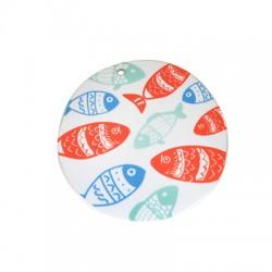 Ciondolo in Plexiacrilico Rotondo con Pesci Dipinti 49mm