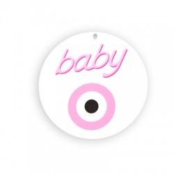 Ciondolo in Plexiacrilico Rotondo con Occhio Portafortuna e scritta BABY dipinte 80mm