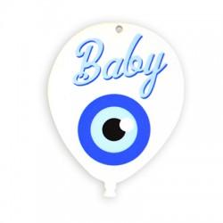 Ciondolo in Plexiacrilico a Palloncino con Occhio Portafortuna e scritta BABY dipinte 65x85mm
