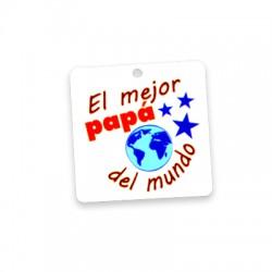 """Πλέξι Ακρυλικό Μοτίφ Τετράγωνο """"El Mejor Papa Del Mundo""""40mm"""