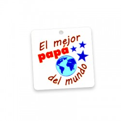 Plexi Acrylic Pendant Square 'El Mejor Papa Del Mundo' 40mm