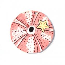 Ciondolo in Plexiacrilico Rotondo con Riccio di Mare dipinto 50mm