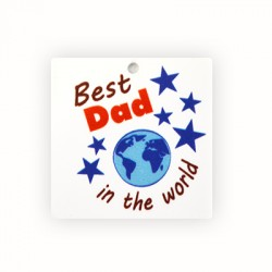 """Plexi Acrylic Pendant Square """"Best Dad in the world"""" 40mm"""