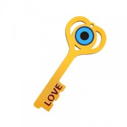 """Plexi Acrylic Pendant Lucky Key Eye """"LOVE"""" 36x85mm"""