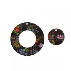 Plexi Acrylic Painted Plaid Pendants Round 40mm & 20mm