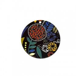 Plexi Acrylic Pendant Round Flowers 45mm