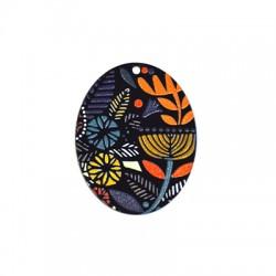 Plexi Acrylic Pendant Oval Flowers 43x45mm