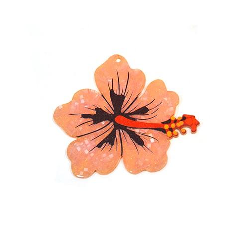 Πλέξι Ακρυλικό Μοτίφ Λουλούδι Ιβίσκος 68x62mm