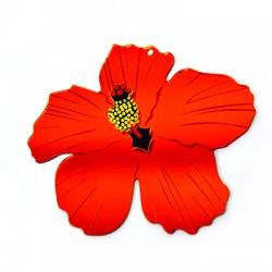 Πλέξι Ακρυλικό Μοτίφ Λουλούδι Ιβίσκος 79x69mm