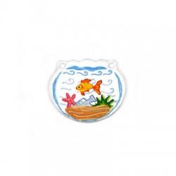 Plexi Acrylic Pendant Glass Ball Fish 35x30mm