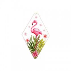 Plexi Acrylic Pendant Rhombus Flamingo 39x70mm
