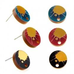 Πλέξι Ακρυλικό Σκουλαρίκι Στρογγυλό 15mm