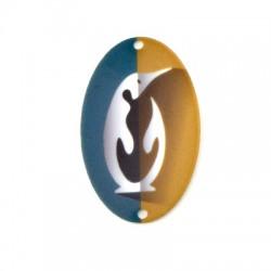 Plexi Acrylic Pendant Oval Penguin 34x54mm