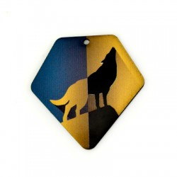 Plexi Acrylic Pendant Diamond Wolf 49x50mm