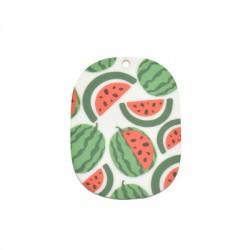 Plexi Acrylic Pendant Oval w/ Watermelon 41x55mm