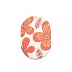 Plexi Acrylic Pendant Oval w/ Flowers 34x50mm