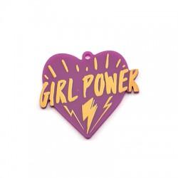 """Πλέξι Ακρυλικό Μοτίφ Καρδιά """"GIRL POWER"""" 44x40mm"""
