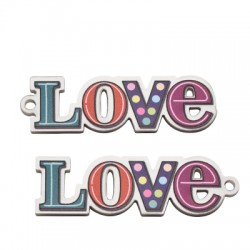"Pendentif ""Love"" en Plexiacrylique 53x16mm"