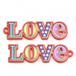 "Plexi Acrylic Pendant ""Love"" 53x15mm"