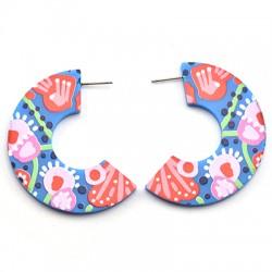 Boucles d'oreille semi-onds en Plexiacrylique 44x50mm (paire)