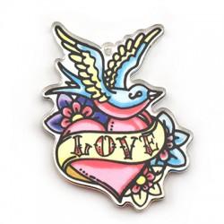 """Pendentif cœur """"Love"""" en Plexiacrylique 44x59mm"""