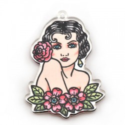 Plexi Acrylic Pendant Girl w/ Flowers 38x49mm